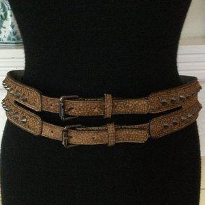 BCBG Max Azria Faux Reptile Studded Double Belt
